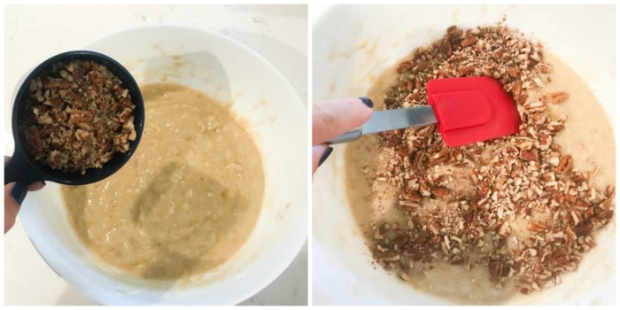 adding crushed pecans to the batter