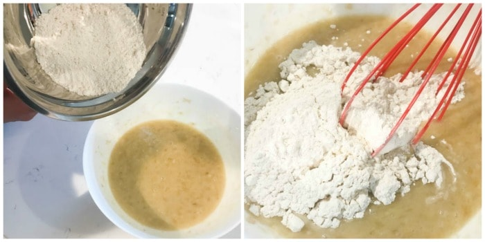 mixing the dry ingredients in with the wet ingredients in a white bowl
