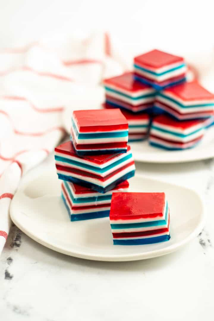 Red White and Blue Jello stacked on a white plate