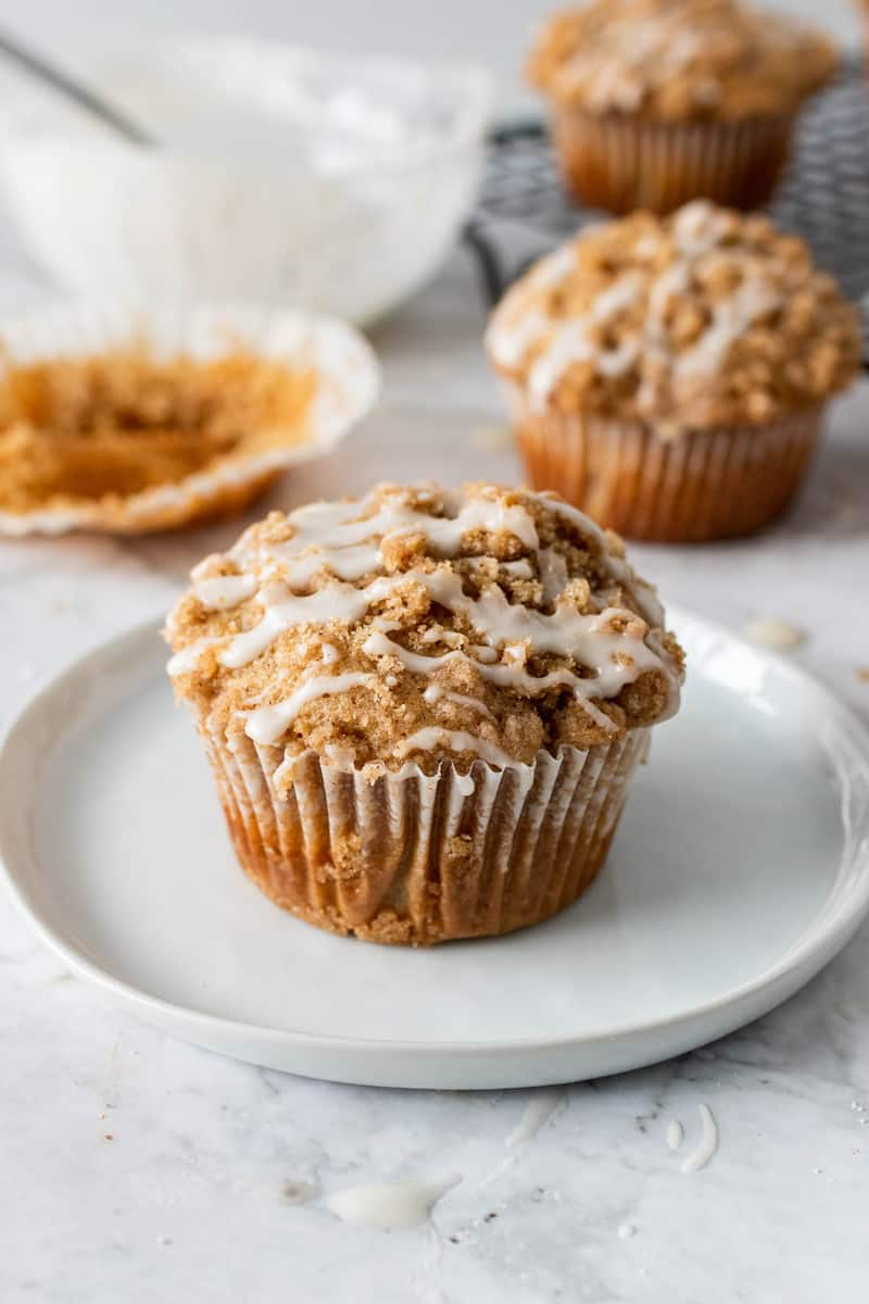 Coffee Cake Muffins on white plate