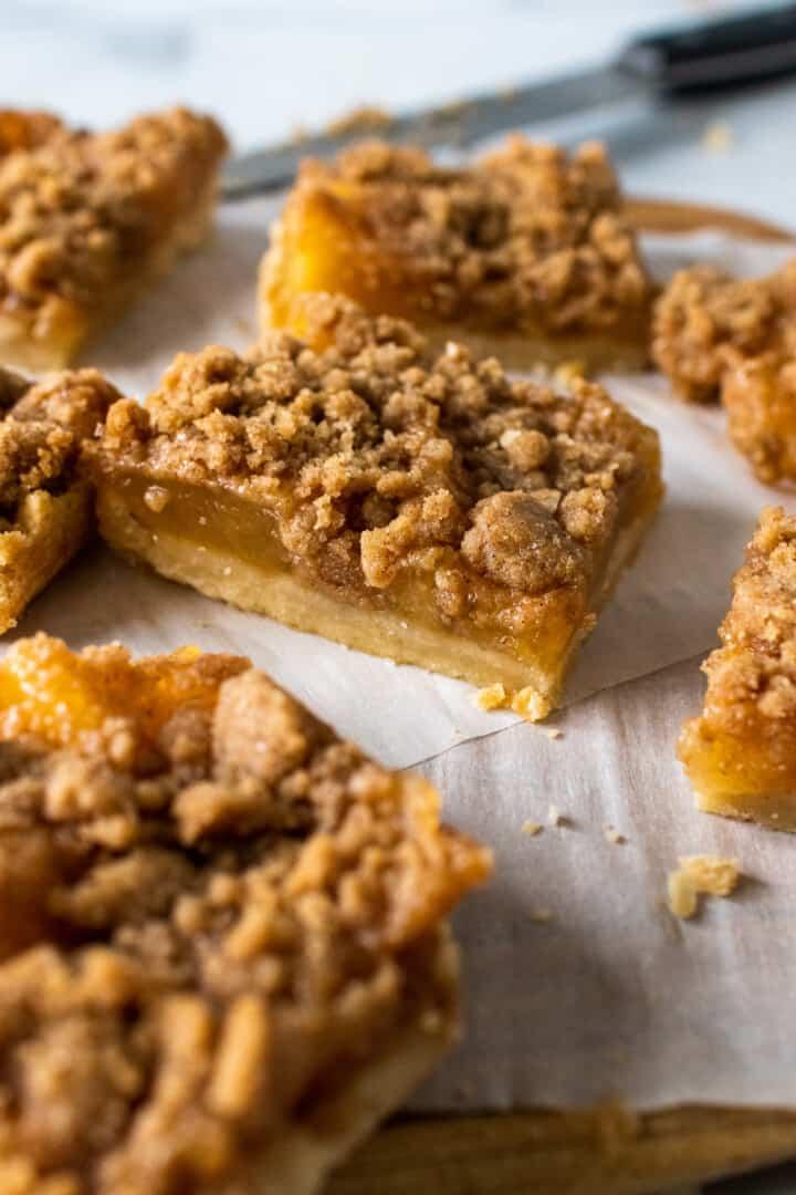 dutch apple pie bars on cutting board