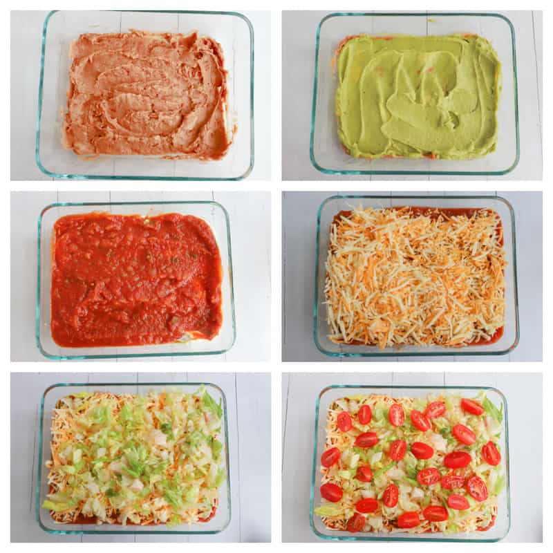 Step by step photo collage of 7 layer dip