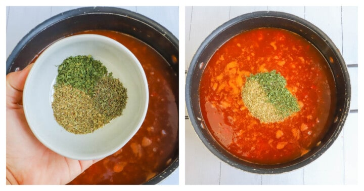 adding the spices to the vegetable soup