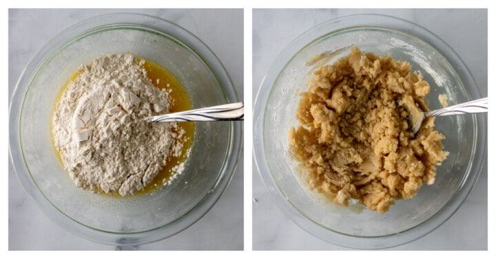mixing ingredients together in glass bowl making the batter