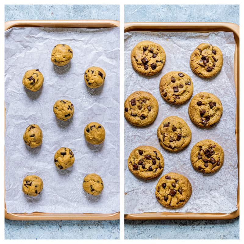 cookie dough balls on baking sheet then fully cooked