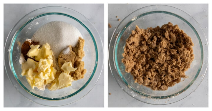 making the Dutch apple pie crumble topping