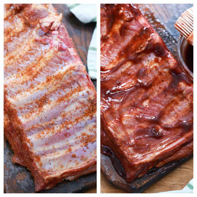 ribs rubbed with spices and covered in bbq sauce