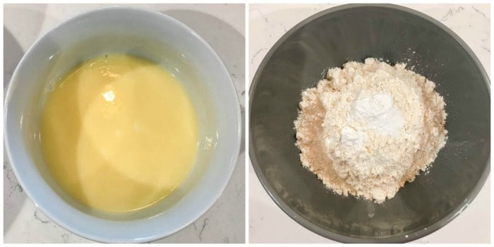 melting the butter and mixing with the sugars