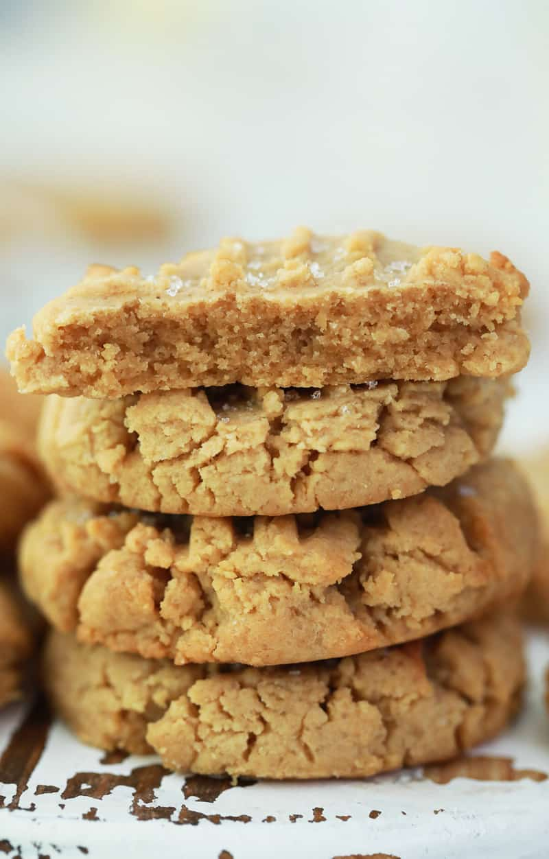closeup of peanut butter cookies stacked