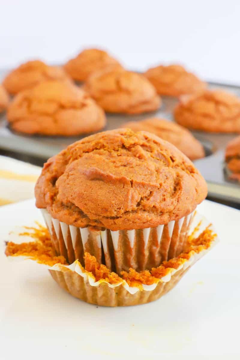 closeup of pumpkin muffin