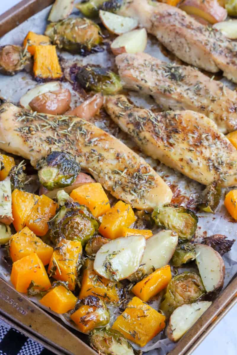 close up of baked one pan autumn chicken dinner