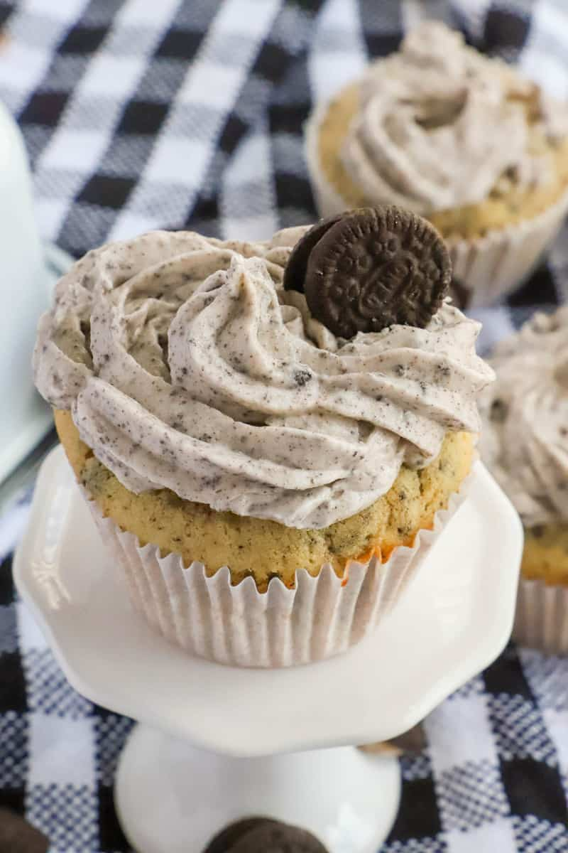 closeup pic of cupcake on a stand