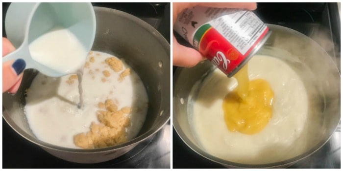 adding milk and cream of chicken soup to the butter and flour mixture