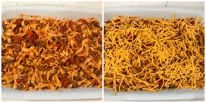 putting beef and noodle casserole into a casserole dish