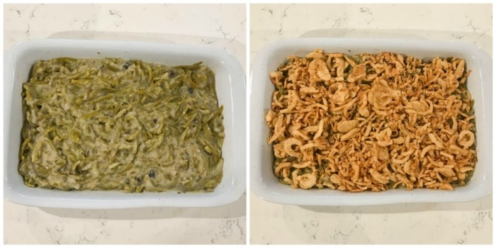 putting the green bean casserole into the baking dish and topping with fried onions