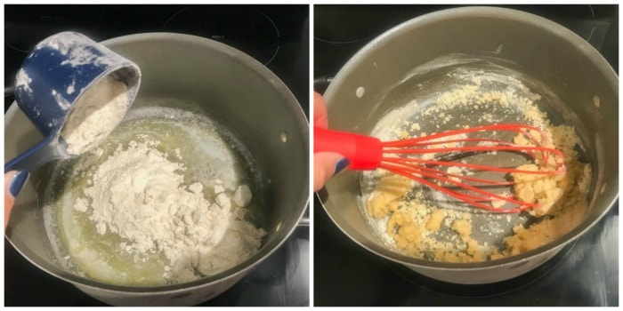 melted butter and flour being mixed together in a mixing bowl