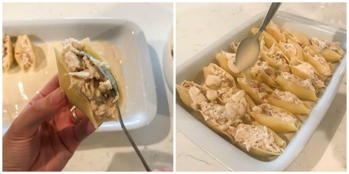 spooning the filling into the shells and topping with sauce