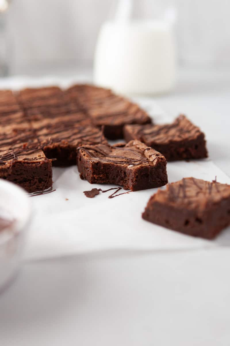 closeup of brownies showing off soft inside