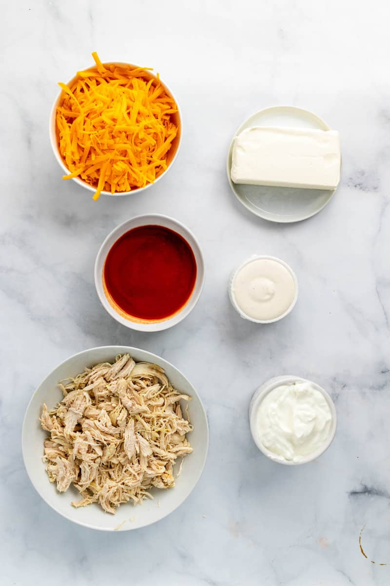 ingredients for Buffalo chicken dip