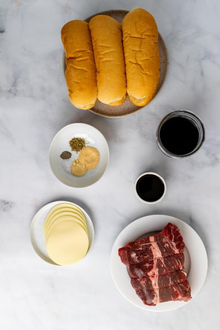 ingredients for French Dip sandwiches