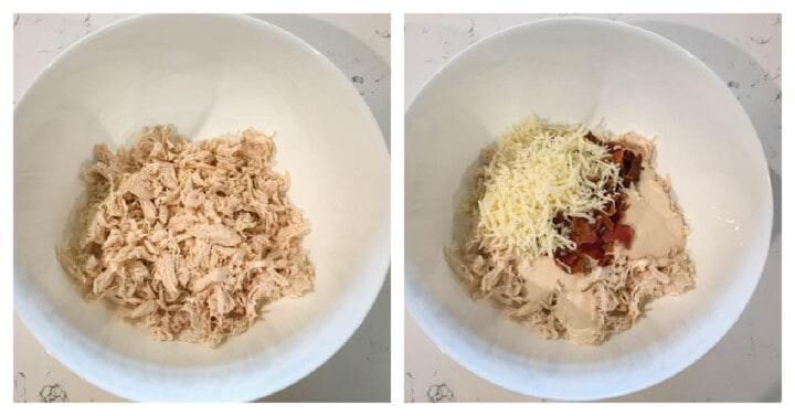 mixing ingredients in with the shredded chicken