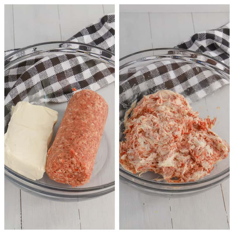 mixing sausage and cream cheese together