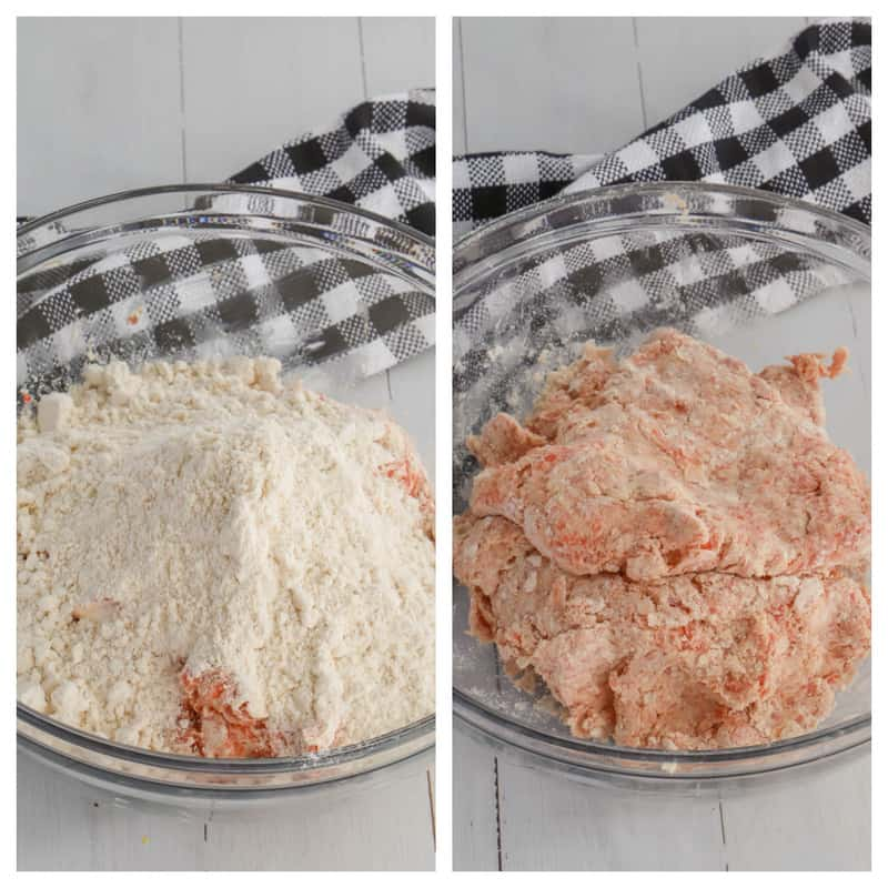 adding Bisquick to the sausage and cream cheese mix