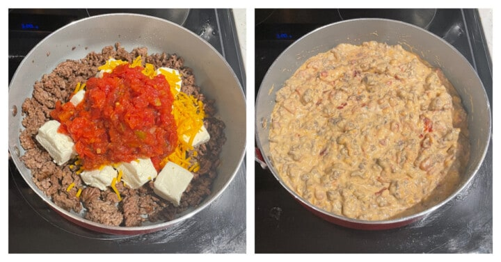 adding the remaining ingredients to the skillet and cooking together