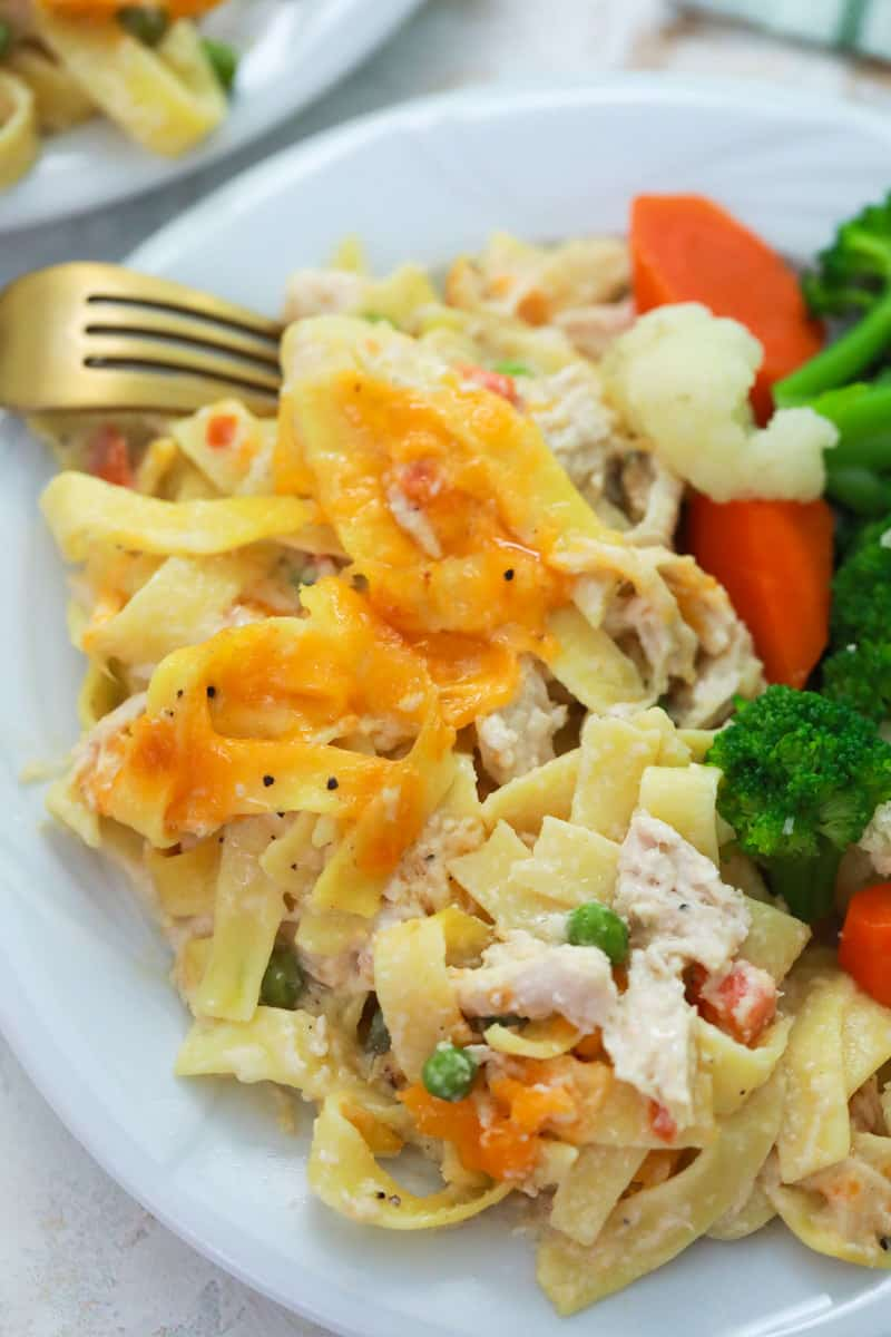 Chicken Noodle Casserole on a plate with vegetables