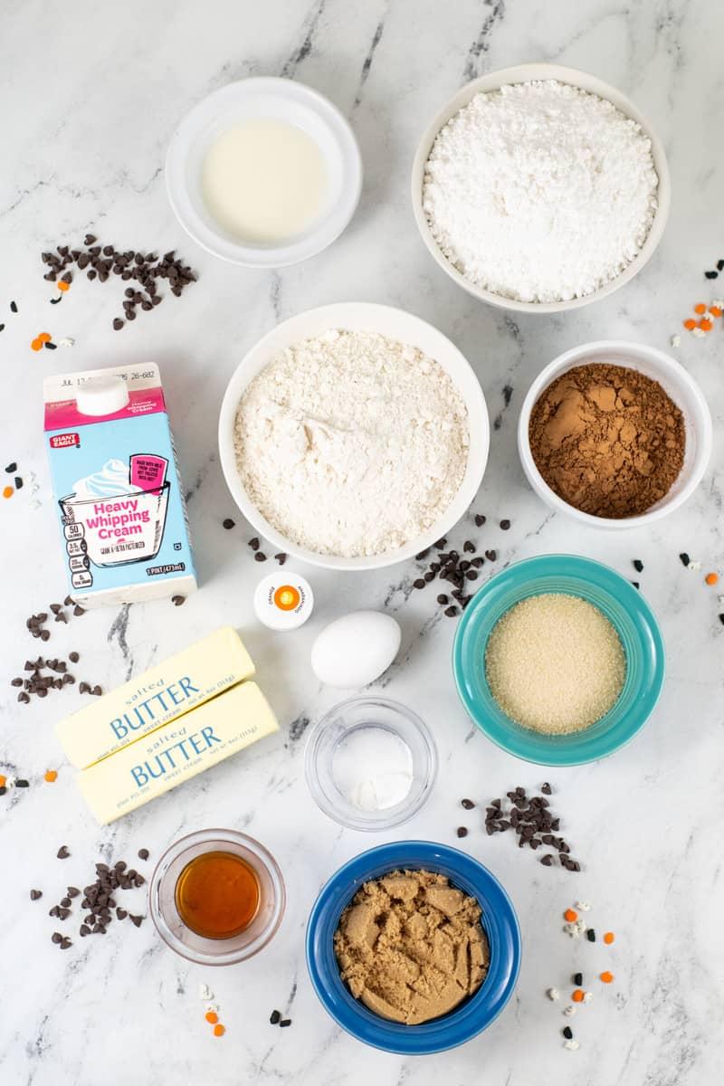ingredients for Halloween cookie bars