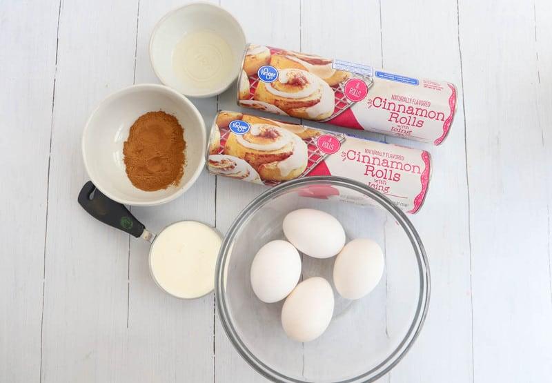 ingredients for cinnamon roll breakfast casserole