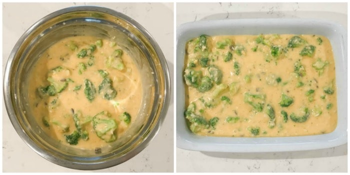 mixed ingredients being added to casserole dish