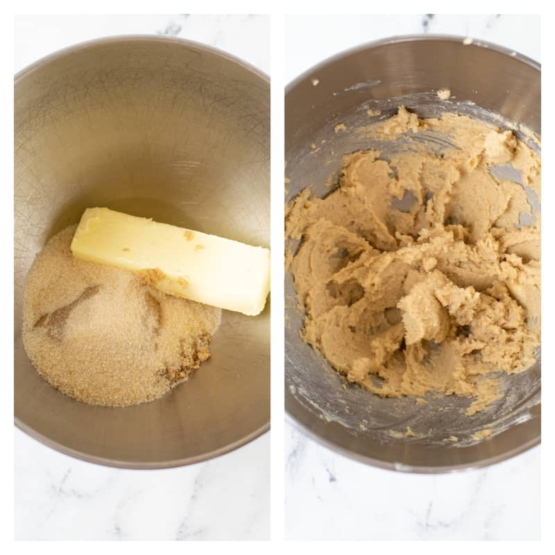 mixing together the sugar and butter