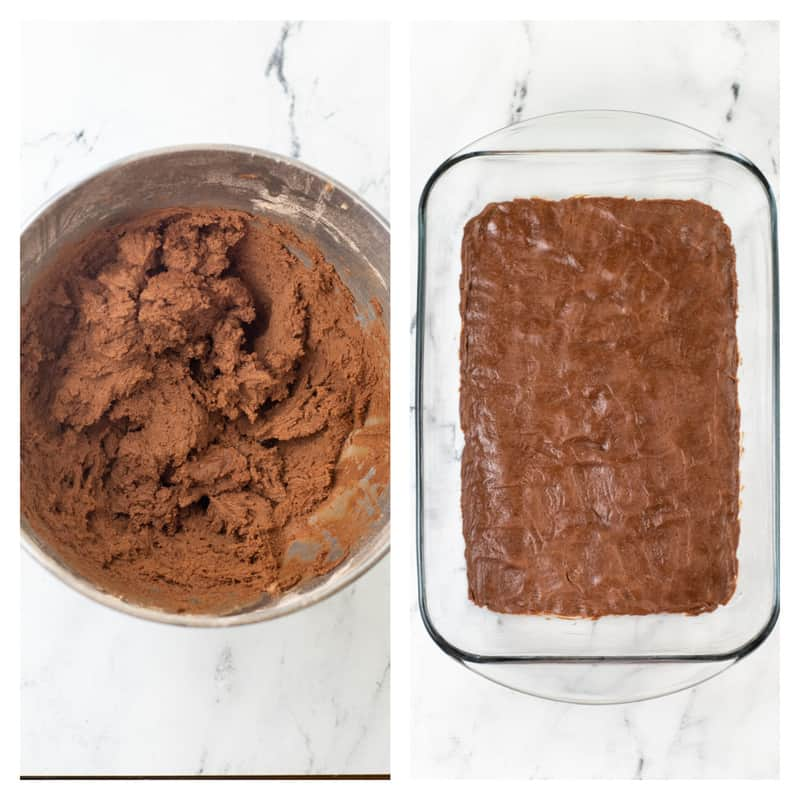 batter being spread out in a baking pan