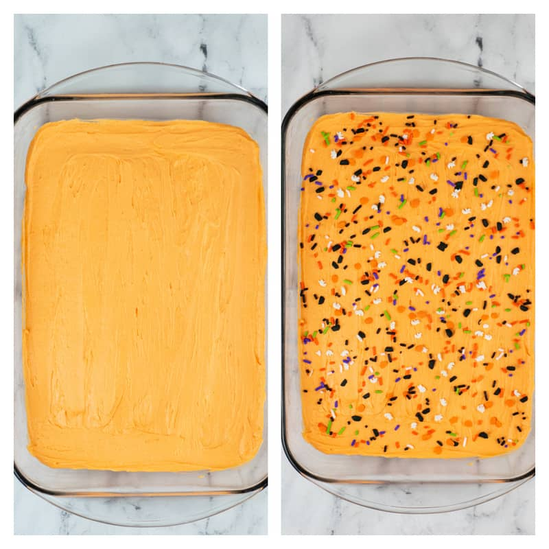 spread frosting on the cookie bars and top with Halloween sprinkles