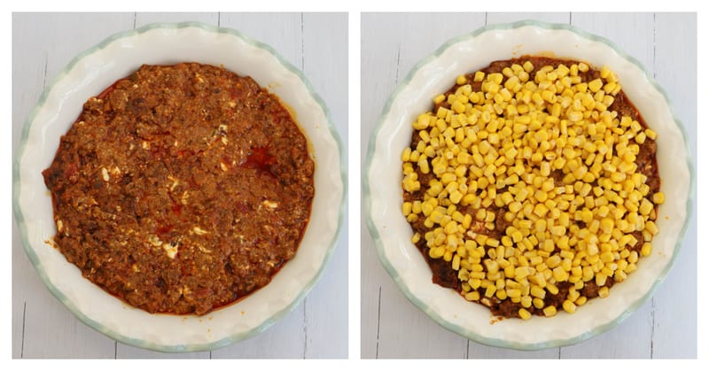 filling the pie pan with taco meat and corn