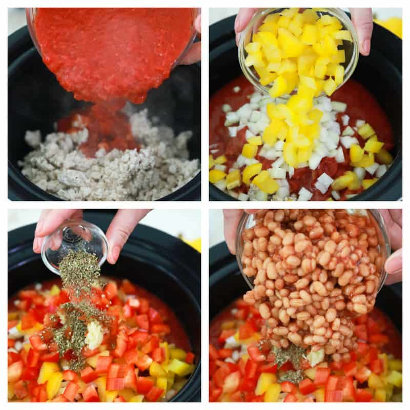 adding all the ingredients to the slow cooker