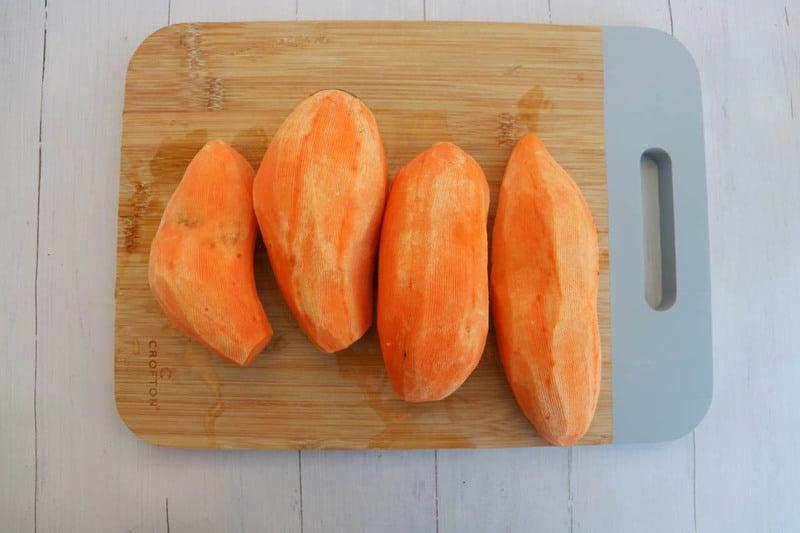 peeled sweet potatoes for fries