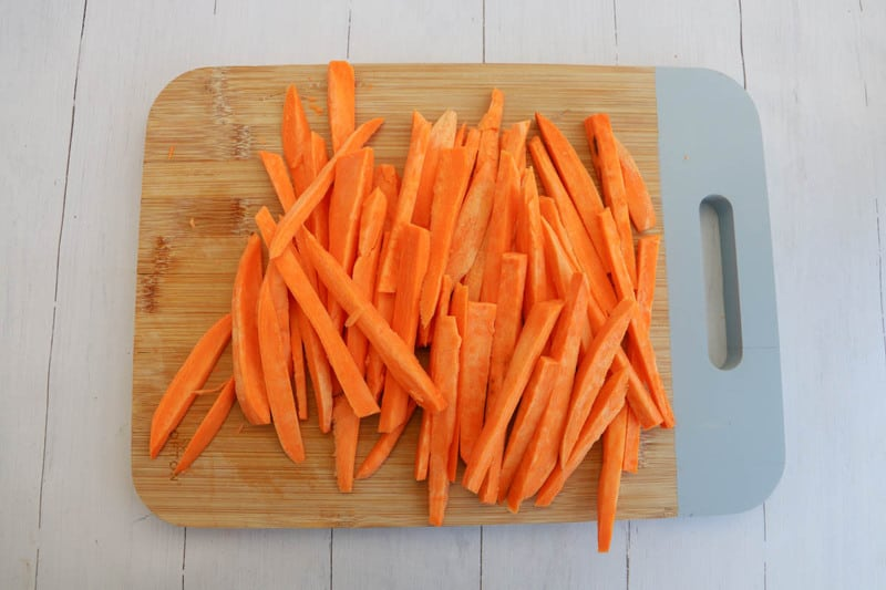 sweet potatoes sliced into fries