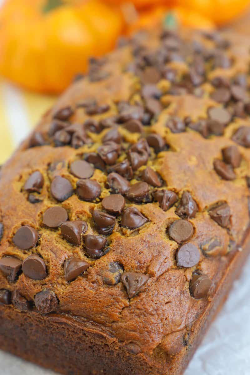 closeup of chocolate chip pumpkin bread