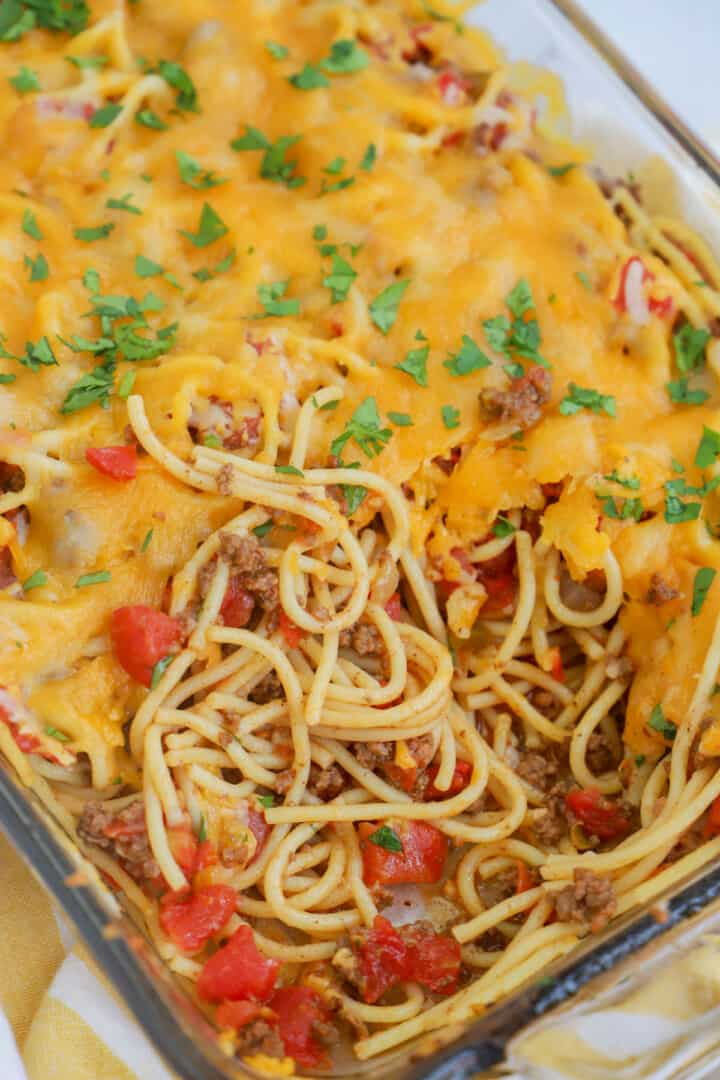close up of taco spaghetti served out of casserole dish