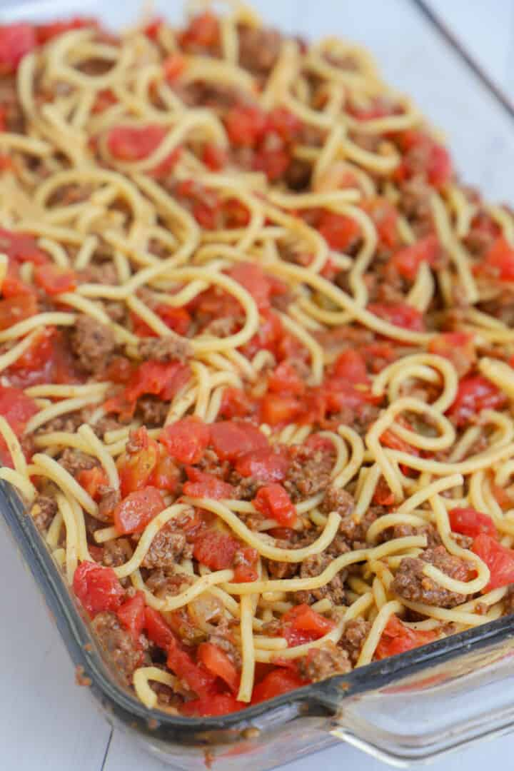 taco spaghetti mixed and added to casserole dish before baking