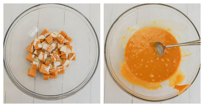 melting caramels for the apples