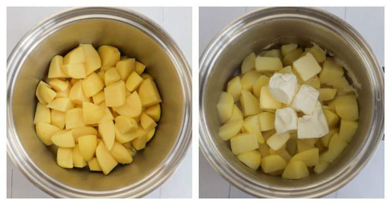 potatoes in large pot for boiling then mixing and mashing