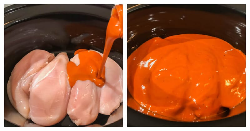 adding chicken breasts and buffalo sauce to the slow cooker