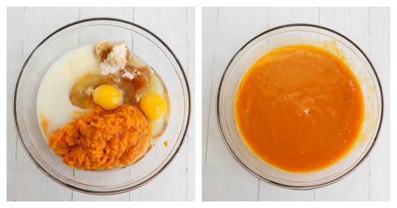 mixing together wet ingredients