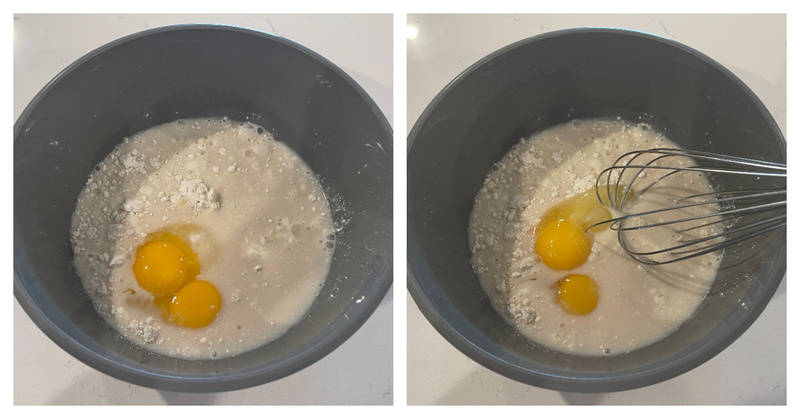 mixing up the pancake batter for the crust