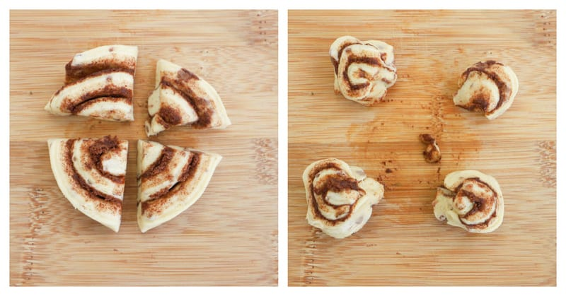 cutting and pinching the cinnamon roll