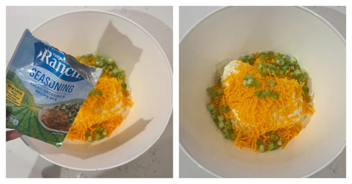 adding ingredients to a white mixing bowl for the cheese ball