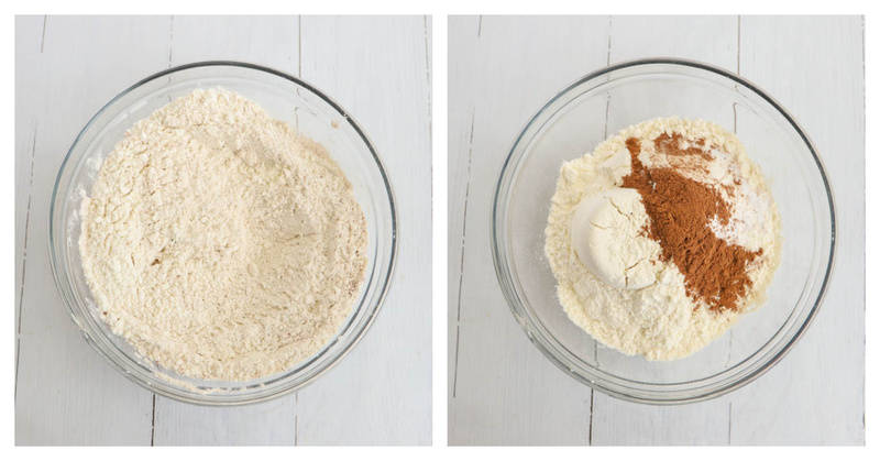 mixing the dry ingredients for the pumpkin bread